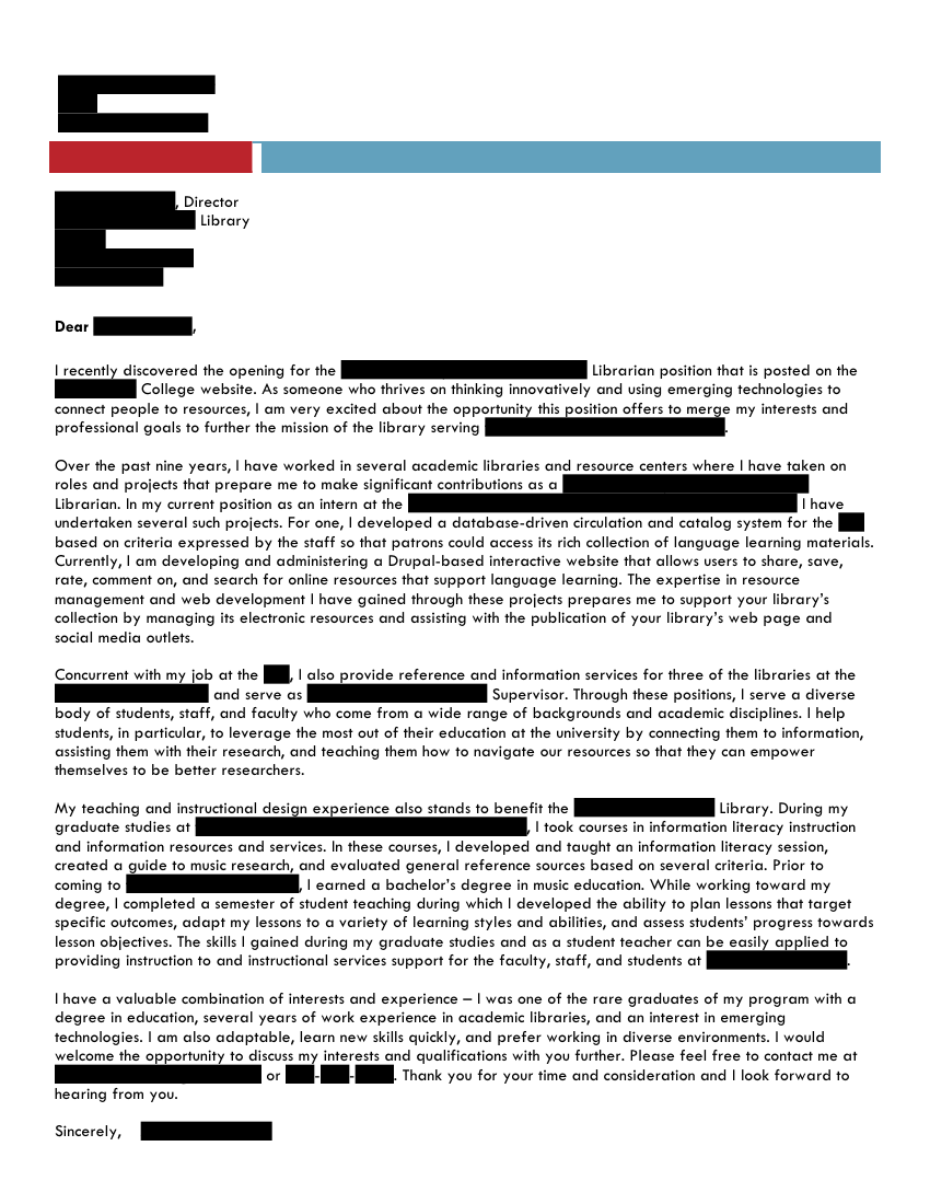 Electronic Resources and Reference Librarian cover letter | Open ...