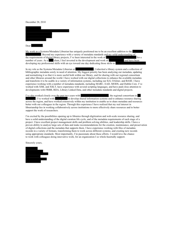 academic librarian cover letter
