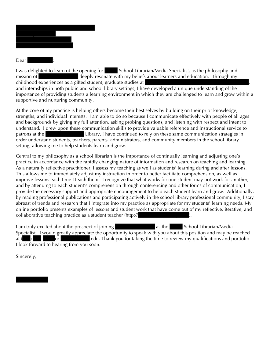 Advertisements  Cover Letter For Librarian