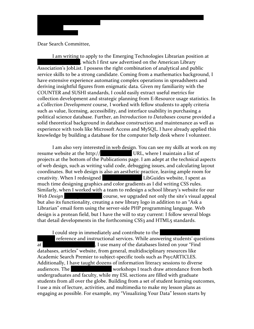 Emerging Technologies Librarian Cover Letter