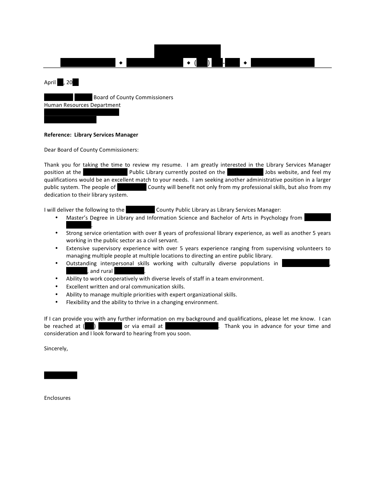 advertisements - Management Cover Letter