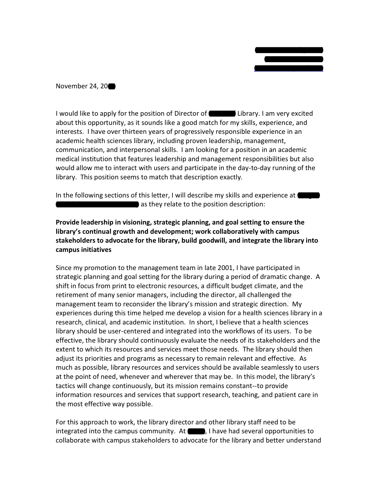 Biomedical Research Library Director cover letter | Open Cover Letters