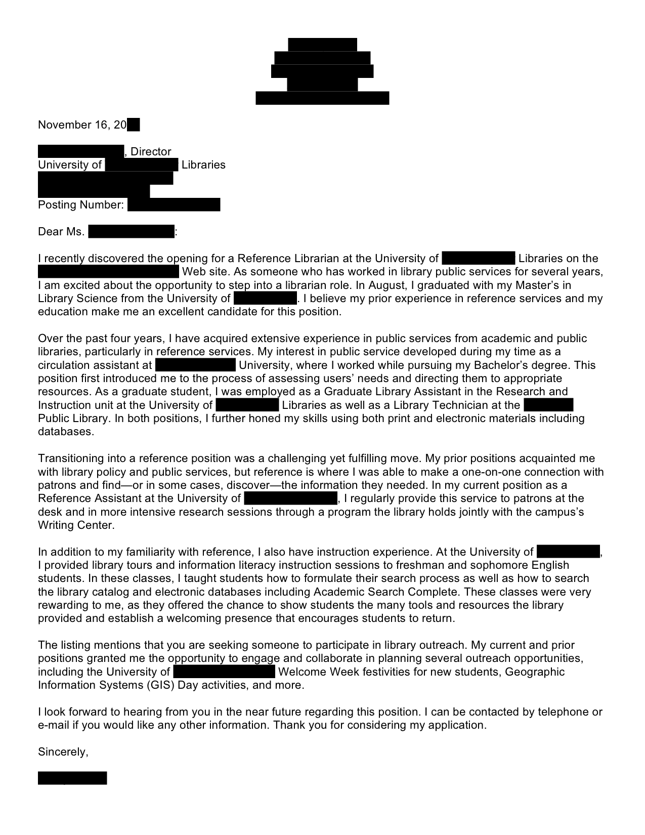 Reference Librarian Cover Letter for Resume