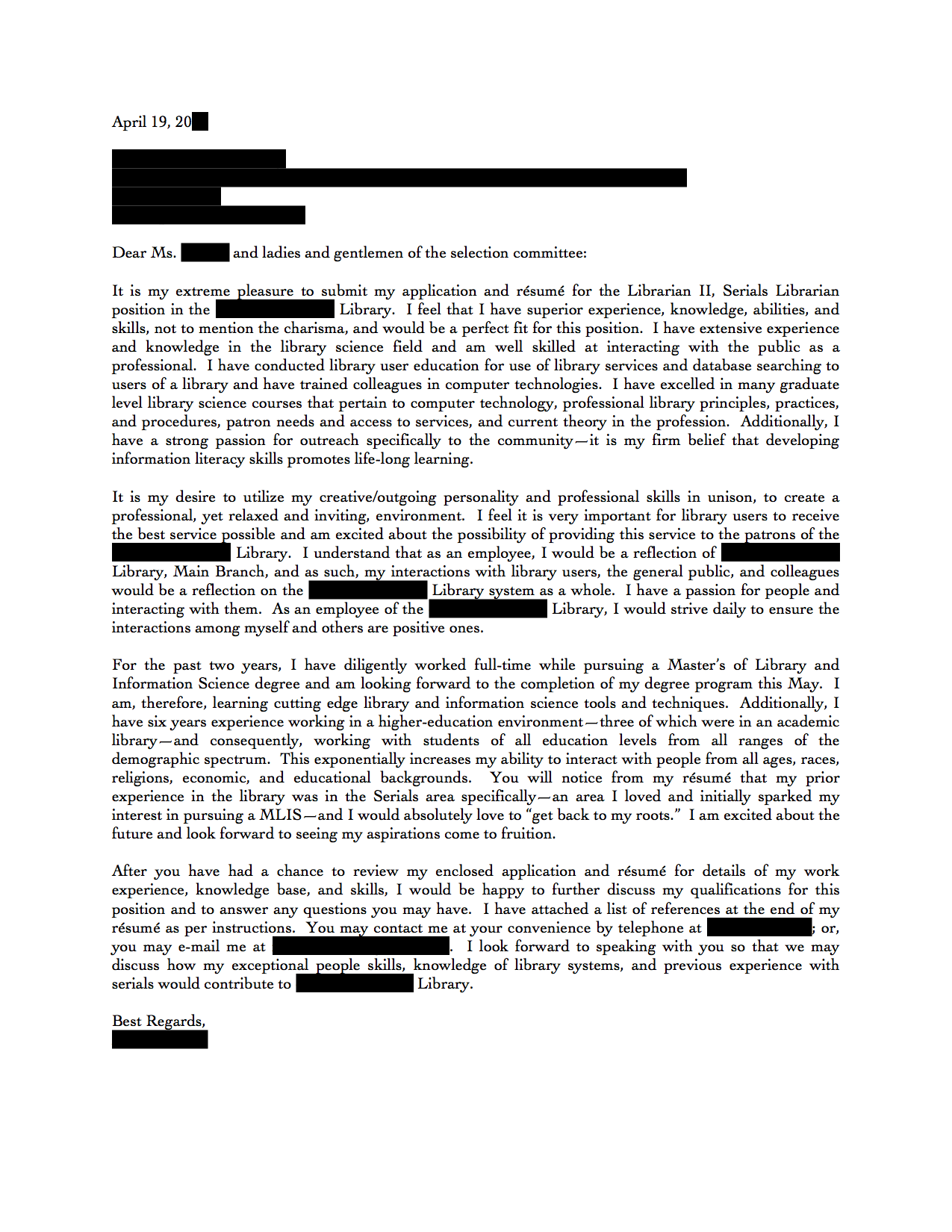 Serials and Acquisitions Librarian cover letter – Librarian Cover Letter
