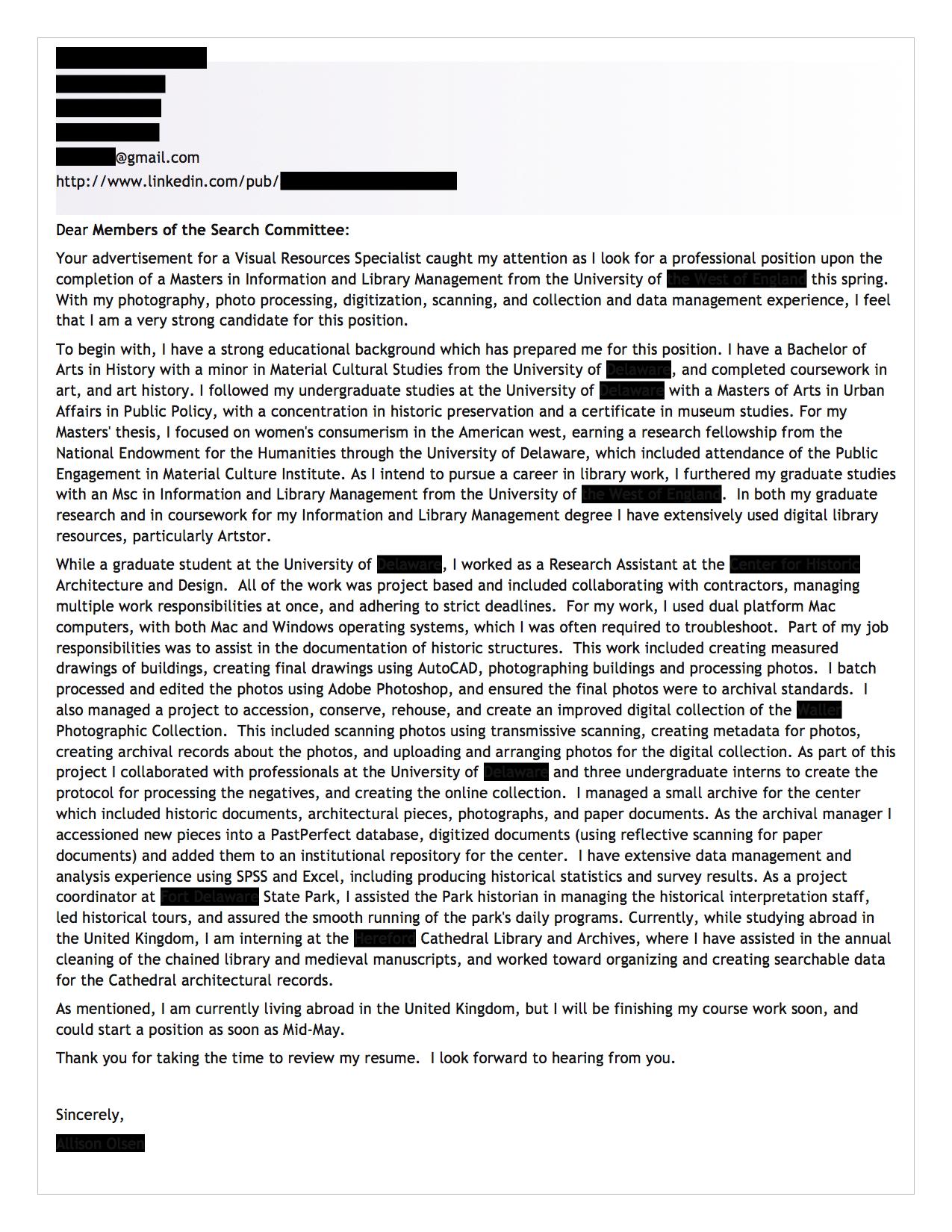 Public Librarian Cover Letter 30.04.2017