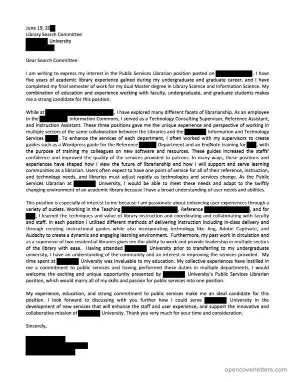 Smith College Lazarus Center Cover Letter
