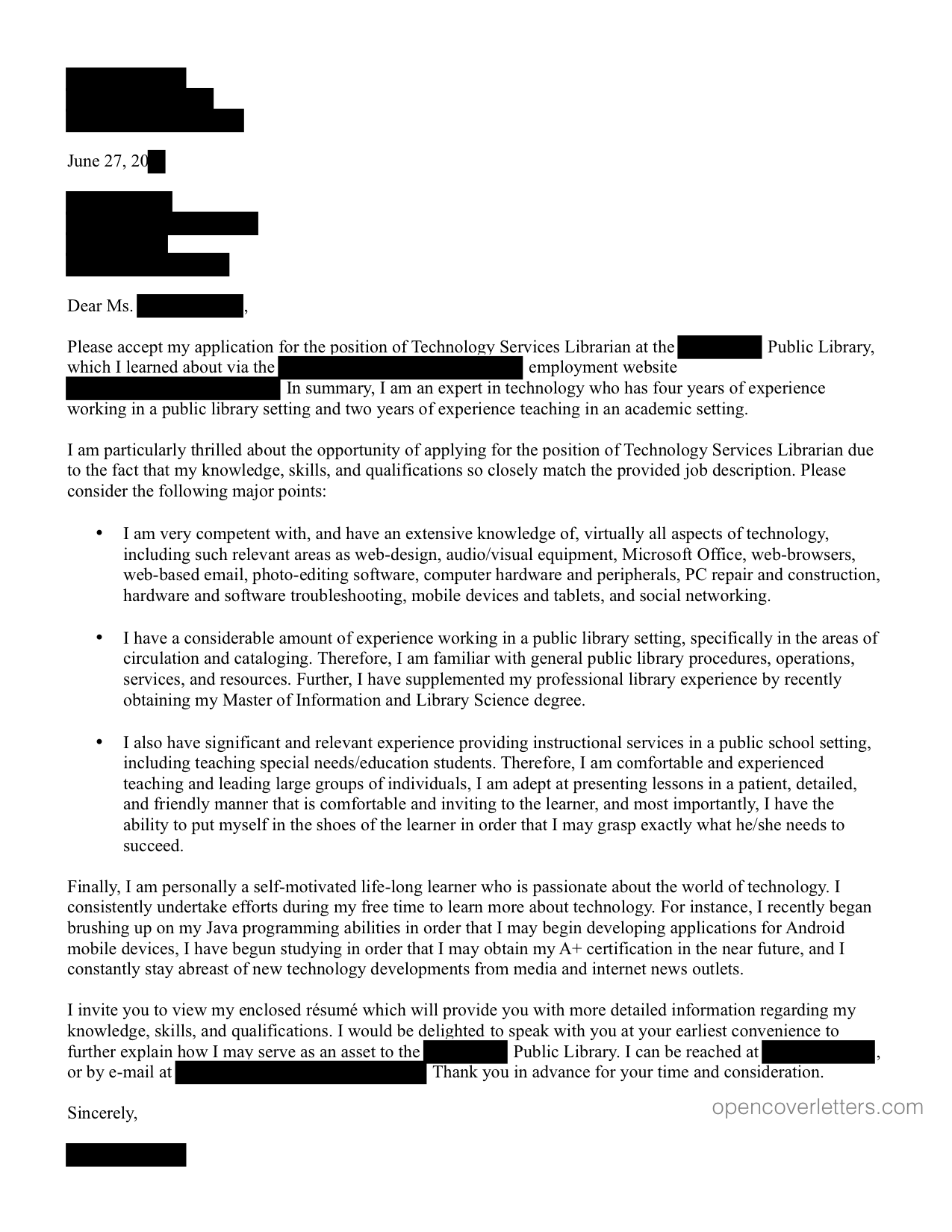 technology – Librarian Cover Letter