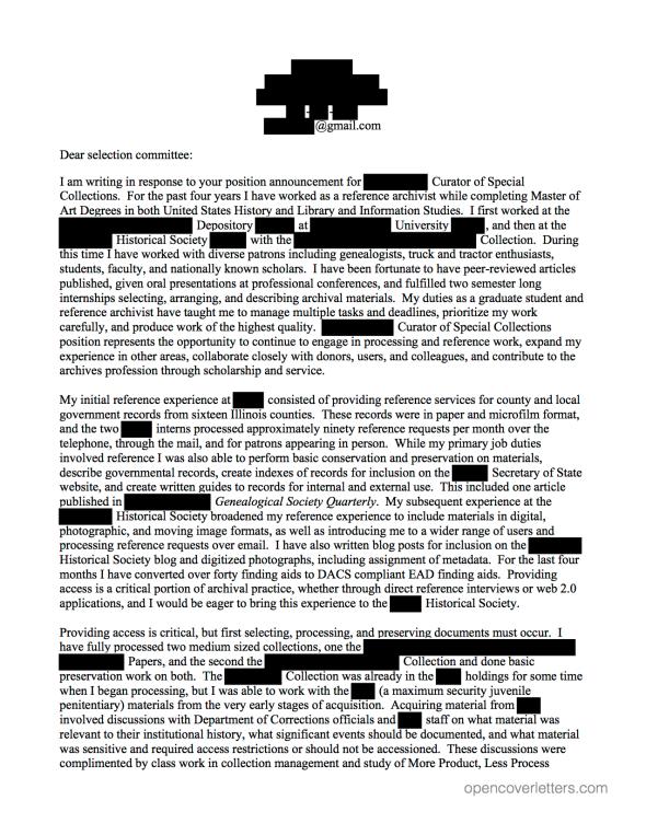 archivist cover letter