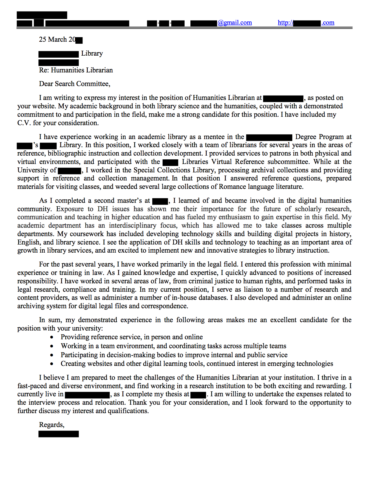 humanities librarian cover letter