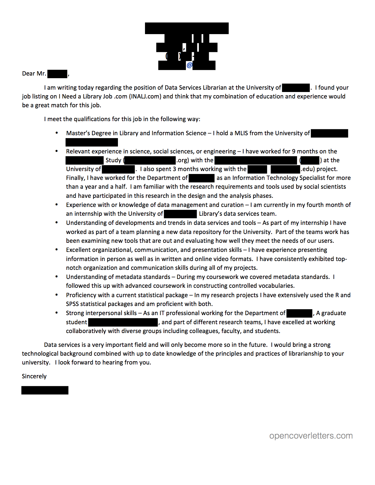 metadata – Librarian Cover Letter