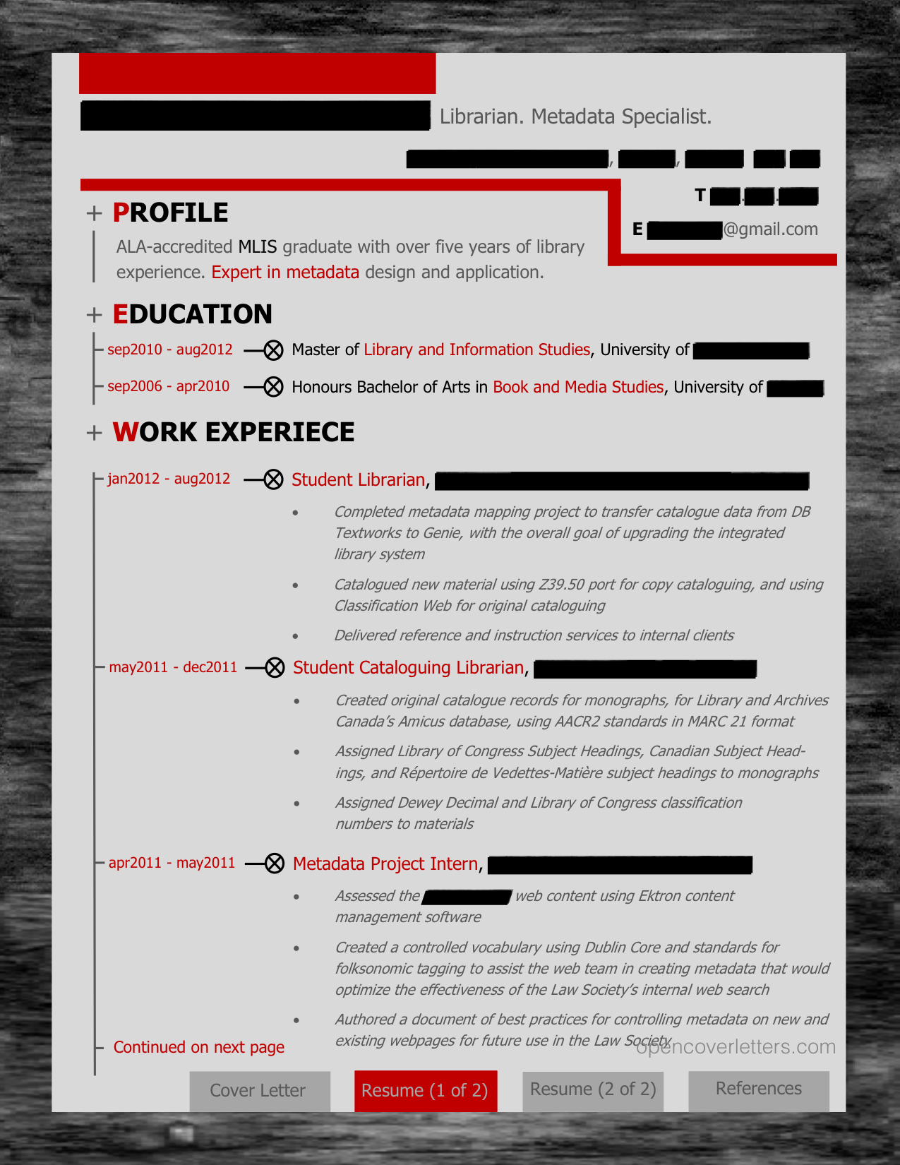 metadata librarian cover letter  resume and references