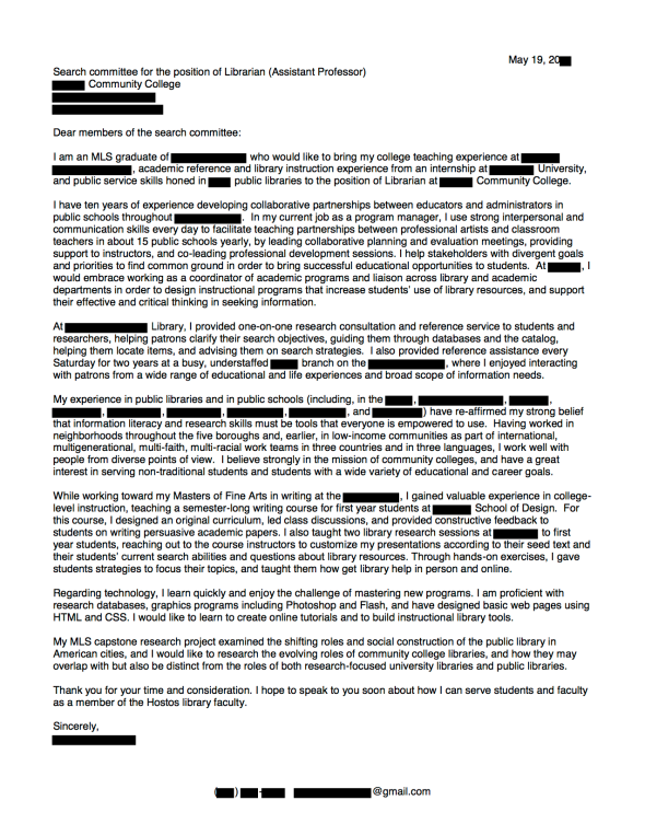 share this cover letter - Public Librarian Cover Letter